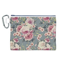 Pink Flower Seamless Design Floral Canvas Cosmetic Bag (l)