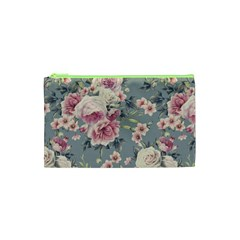 Pink Flower Seamless Design Floral Cosmetic Bag (xs)