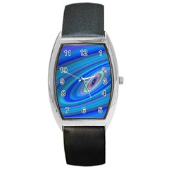Oval Ellipse Fractal Galaxy Barrel Style Metal Watch