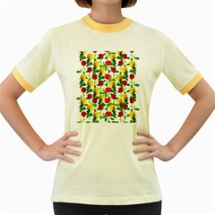 Rose Pattern Roses Background Image Women s Fitted Ringer T Shirts