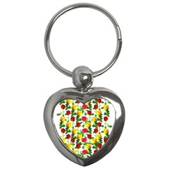 Rose Pattern Roses Background Image Key Chains (heart)