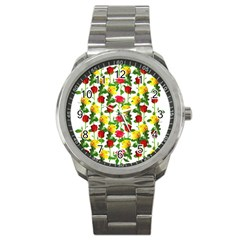 Rose Pattern Roses Background Image Sport Metal Watch