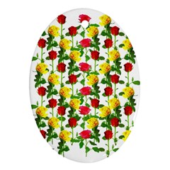 Rose Pattern Roses Background Image Oval Ornament (two Sides)
