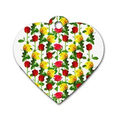 Rose Pattern Roses Background Image Dog Tag Heart (two Sides)