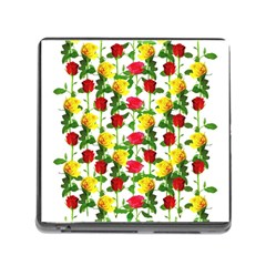 Rose Pattern Roses Background Image Memory Card Reader (square)