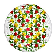 Rose Pattern Roses Background Image Round Filigree Ornament (two Sides)