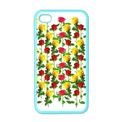 Rose Pattern Roses Background Image Apple Iphone 4 Case (color)