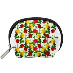 Rose Pattern Roses Background Image Accessory Pouches (small)