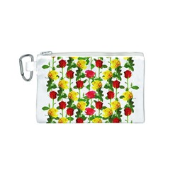 Rose Pattern Roses Background Image Canvas Cosmetic Bag (s)
