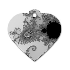 Apple Males Mandelbrot Abstract Dog Tag Heart (two Sides)
