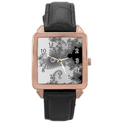 Apple Males Mandelbrot Abstract Rose Gold Leather Watch