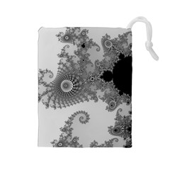 Apple Males Mandelbrot Abstract Drawstring Pouches (large)
