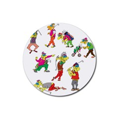Golfers Athletes Rubber Round Coaster (4 Pack)