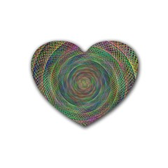 Spiral Spin Background Artwork Rubber Coaster (heart)