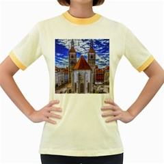 Steeple Church Building Sky Great Women s Fitted Ringer T Shirts