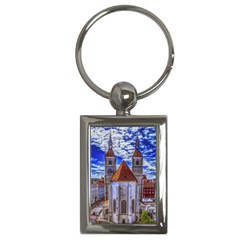 Steeple Church Building Sky Great Key Chains (rectangle)
