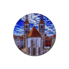 Steeple Church Building Sky Great Rubber Coaster (round)