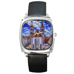 Steeple Church Building Sky Great Square Metal Watch