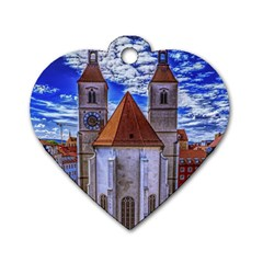 Steeple Church Building Sky Great Dog Tag Heart (one Side)