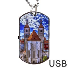 Steeple Church Building Sky Great Dog Tag Usb Flash (two Sides)
