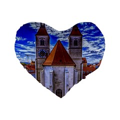 Steeple Church Building Sky Great Standard 16  Premium Heart Shape Cushions