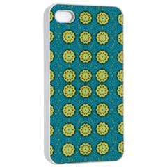 Sunshine Mandalas On Blue Apple Iphone 4/4s Seamless Case (white)