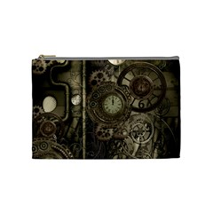 Stemapunk Design With Clocks And Gears Cosmetic Bag (medium)