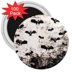Vintage Halloween Bat Pattern 3  Magnets (100 Pack)
