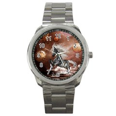 Steampunk, Awesome Steampunk Horse With Clocks And Gears In Silver Sport Metal Watch