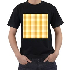Pale Pumpkin Orange And White Halloween Gingham Check Men s T Shirt (black) (two Sided)