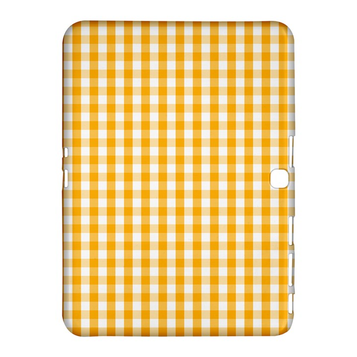 Pale Pumpkin Orange and White Halloween Gingham Check Samsung Galaxy Tab 4 (10.1 ) Hardshell Case