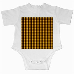 Pale Pumpkin Orange And Black Halloween Gingham Check Infant Creepers