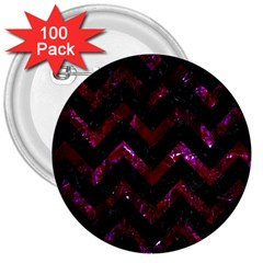 Chevron9 Black Marble & Burgundy Marble 3  Buttons (100 Pack)