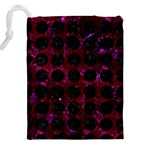 CIRCLES1 BLACK MARBLE & BURGUNDY MARBLE (R) Drawstring Pouches (XXL) Back