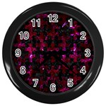PUZZLE1 BLACK MARBLE & BURGUNDY MARBLE Wall Clocks (Black) Front