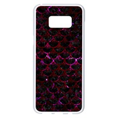 Scales3 Black Marble & Burgundy Marble Samsung Galaxy S8 Plus White Seamless Case