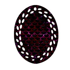 Scales3 Black Marble & Burgundy Marble Oval Filigree Ornament (two Sides)