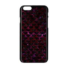 Scales3 Black Marble & Burgundy Marble Apple Iphone 6/6s Black Enamel Case