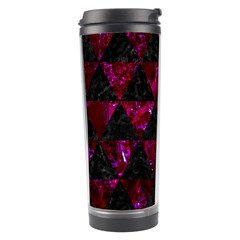 Triangle3 Black Marble & Burgundy Marble Travel Tumbler