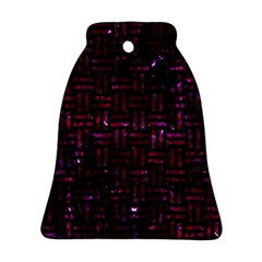 Woven1 Black Marble & Burgundy Marble Ornament (bell)