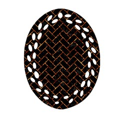 Brick2 Black Marble & Copper Foil Oval Filigree Ornament (two Sides)