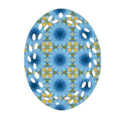 Blue Nice Daisy Flower Ang Yellow Squares Oval Filigree Ornament (two Sides)