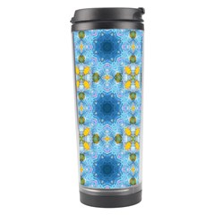 Blue Nice Daisy Flower Ang Yellow Squares Travel Tumbler