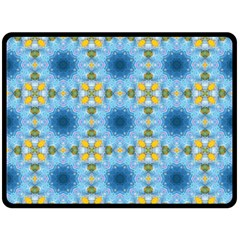 Blue Nice Daisy Flower Ang Yellow Squares Double Sided Fleece Blanket (large)