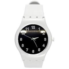 Black Lite!  Round Plastic Sport Watch (m)