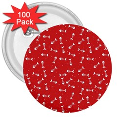 Fish Bones Pattern 3  Buttons (100 Pack)
