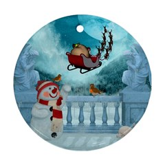 Christmas Design, Santa Claus With Reindeer In The Sky Round Ornament (two Sides)