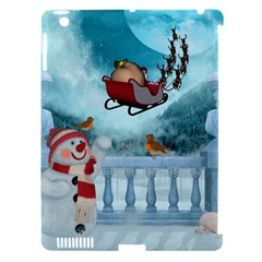 Christmas Design, Santa Claus With Reindeer In The Sky Apple Ipad 3/4 Hardshell Case (compatible With Smart Cover)