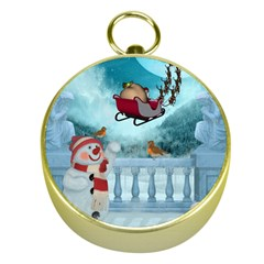 Christmas Design, Santa Claus With Reindeer In The Sky Gold Compasses