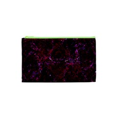 Damask1 Black Marble & Burgundy Marble (r) Cosmetic Bag (xs)